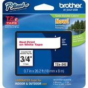 "Brother® TZe Series Tape, 3/4"", Red Lettering on White Label Tape"