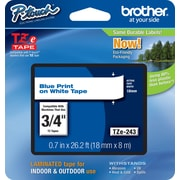 "Brother® TZe Series Tape, 3/4"", Blue Lettering on White Label Tape"