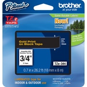 "Brother® TZe Series Tape, 3/4"", Gold Lettering on Black Label Tape"