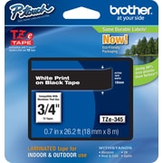 "Brother TZe-345 3/4"" P-Touch Label Tape, White on Black"