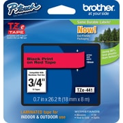"Brother® TZe Series Tape, 3/4"", Black Lettering on Red Label Tape"
