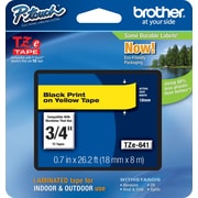 "Brother® TZe Series Tape, 3/4"", Black Lettering on Yellow Label Tape"