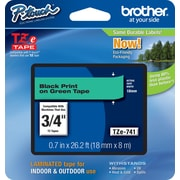 "Brother® TZe Series Tape, 3/4"", Black Lettering on Green Label Tape"
