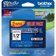 "Brother TZe-1312PK 1/2"" P-Touch Label Tape, Black Print on Clear Tape 2/Pack"
