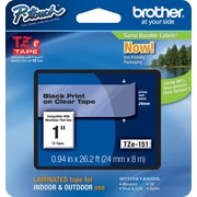 "Brother® TZe Series Tape, 1"", Black Lettering on Clear Label Tape"