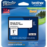 "Brother TZe-251 1"" P-Touch Label Tape Black on White"