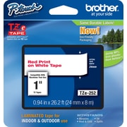 "Brother® TZe Series Tape, 1"", Red Lettering on White Label Tape"