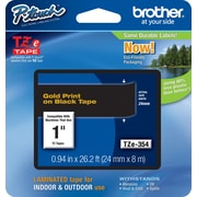 "Brother® TZe Series Tape, 1"", Gold Lettering on Black Label Tape"