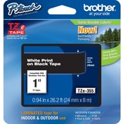 "Brother® TZE Series Tape, 1"", White Lettering on Black Label Tape"