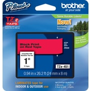 "Brother® TZE Series Tape, 1"", Black Lettering on Red Label Tape"
