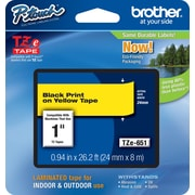"Brother® TZe Series Tape, 1"", Black Lettering on Yellow Label Tape"