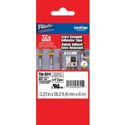 "Brother TZe-S211 1/4"" P-Touch Label Tape, Black on White with Extra-Strength Adhesive"