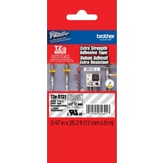 "Brother® TZES Extra-Strength Industrial Label Tape Cartridges, 1/2"", Black on Clear"
