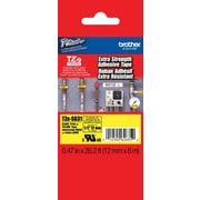 "Brother® TZES Extra-Strength Industrial Label Tape Cartridges, 1/2"", Black on Yellow"