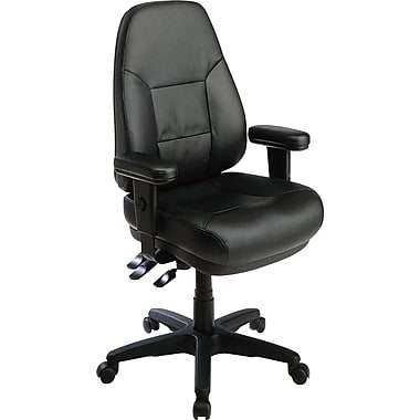 Office Star Leather Managers Office Chair, Black, Adjustable Arm (EC4300-EC3)