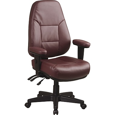 Office Star™ Leather Managers Office Chair, Burgundy, Adjustable Arm (EC4300-EC4)