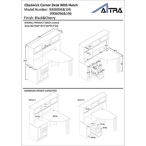 Altra™ Chadwick Collection Corner Desk, Virginia Cherry