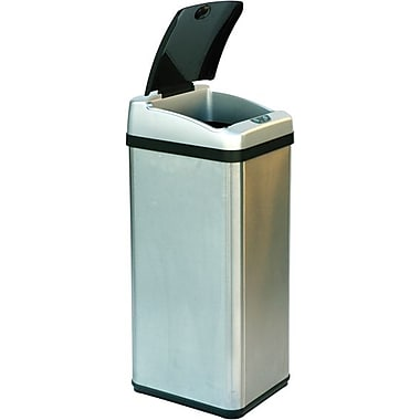 iTouchless Square Extra-Wide Lid Opening Touchless Trashcan® RX, 13 gal.