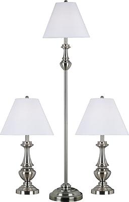 Kenroy New Hope Incandescent Lamp Set, Brushed Steel, 3/Pack