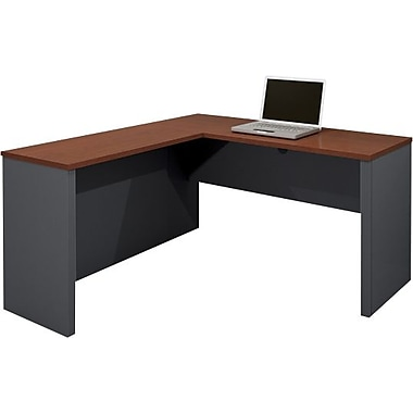 Bestar – Bureau en forme de L de la collection Prestige +, fini Bordeaux et graphite
