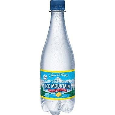 Ice Mountain Sparkling Natural Spring Water, Lemon 16.9-ounce Plastic Bottle, 24/Case