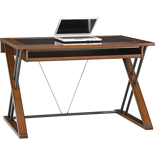 whalen astoria computer desk brown cherry staples