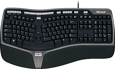 Microsoft® Natural Ergonomic Keyboard 4000, Ergonomic Wired Keyboard, Black (B2M-00012)