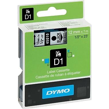 DYMO® - Ruban d'étiquettes D1, 12 mm (1/2 po), noir sur transparent