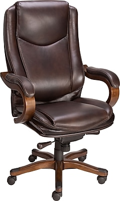 Staples Eastcott Top Grain Leather Mid-Back Executive Chair, Brown