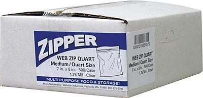 Webster Handi-Bag® Recloseable Quart Zipper Bags, Clear , 7