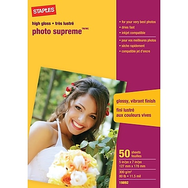 Staples® Photo Supreme Paper, Glossy, 5