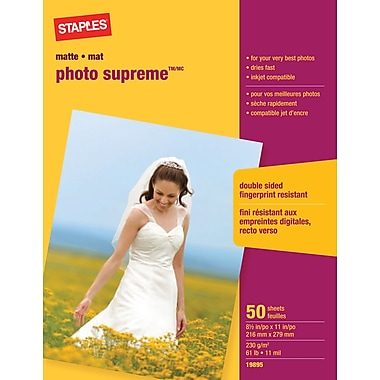 Staples® - Papier photo Supreme, mat, 8½ x 11 po, paq./50