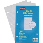 "Staples College Ruled Filler Paper, 5 1/2"" x 8 1/2"", 100/Pack (12301M)"