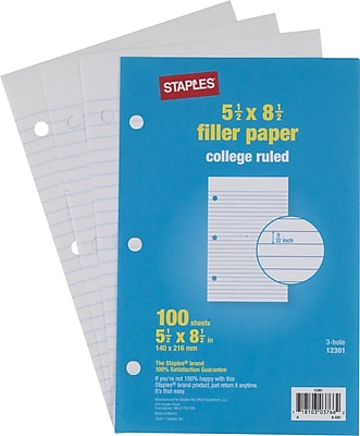 Staples College Ruled Filler Paper, 5 1/2