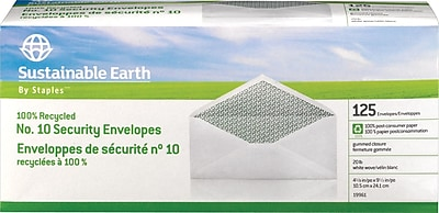 Staples Sustainable Earth #10 100% Recycled Business Envelopes, 125/Box (74101)