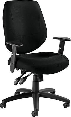 Global Mid-Back Ergonomic Fabric Task Chair, Adjustable Arms, Black
