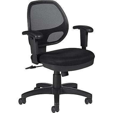 Global Fabric Computer and Desk Office Chair, Adjustable Arms, Black (OTG11647B)