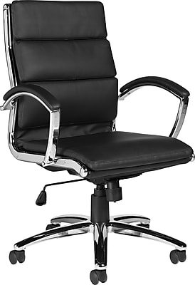 Global Leather Managers Office Chair, Fixed Arms, Black (OTG11648B)