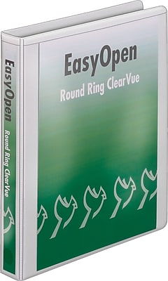 Cardinal Easy Open ClearVue 1-Inch Round 3-Ring Binder, White (11100)