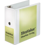 "Cardinal® XtraValue™ ClearVue™ Slant-D® Ring Binder, White, 1050-Sheet Capacity, 5"" (Ring Diameter)"