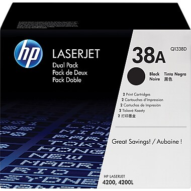 HP 38A Black Toner Cartridges (Q1338D), Twin Pack