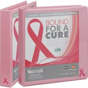 Samsill Pink Ribbon 1-Inch 3-Ring View Binder, Pink Ribbon (10051)