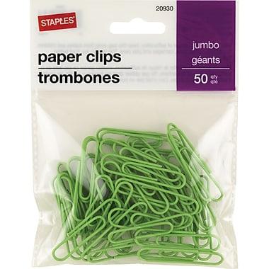 StaplesMD – Trombones géants recouverts de vinyle, vert, paq./50