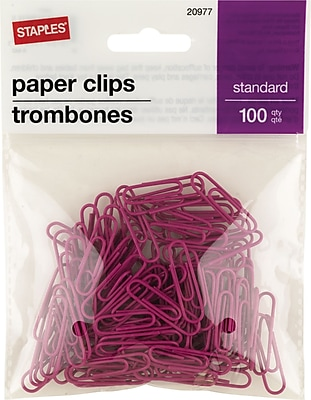 Staples® #1 Size Vinyl-Coated Paper Clips, Pink, 100/Pack