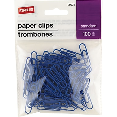 Staples® Standard Vinyl-Coated Paper Clips, Blue, 100/Pack
