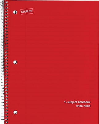 Staples® 1 Subject Poly Cover Notebook, Wide Ruled, 8