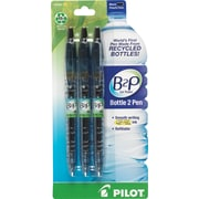 Pilot B2P Bottle-2-Pen Retractable Gel Roller Pens, Fine Point, Black, 3/Pack (31607)