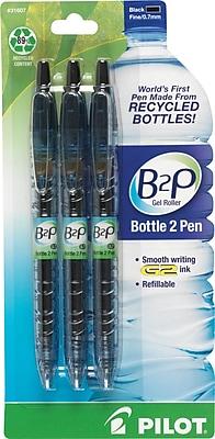 Pilot B2P Bottle-2-Pen Retractable Gel Roller Pens, Fine Point, Black, 3/Pack (31607)