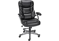 Staples Osgood Bonded Leather High-Back Manager's Chair, Black