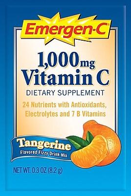 Emergen-C® Vitamin Drink Mix, Tangerine, .3oz/Packet, 50 Packets/Box